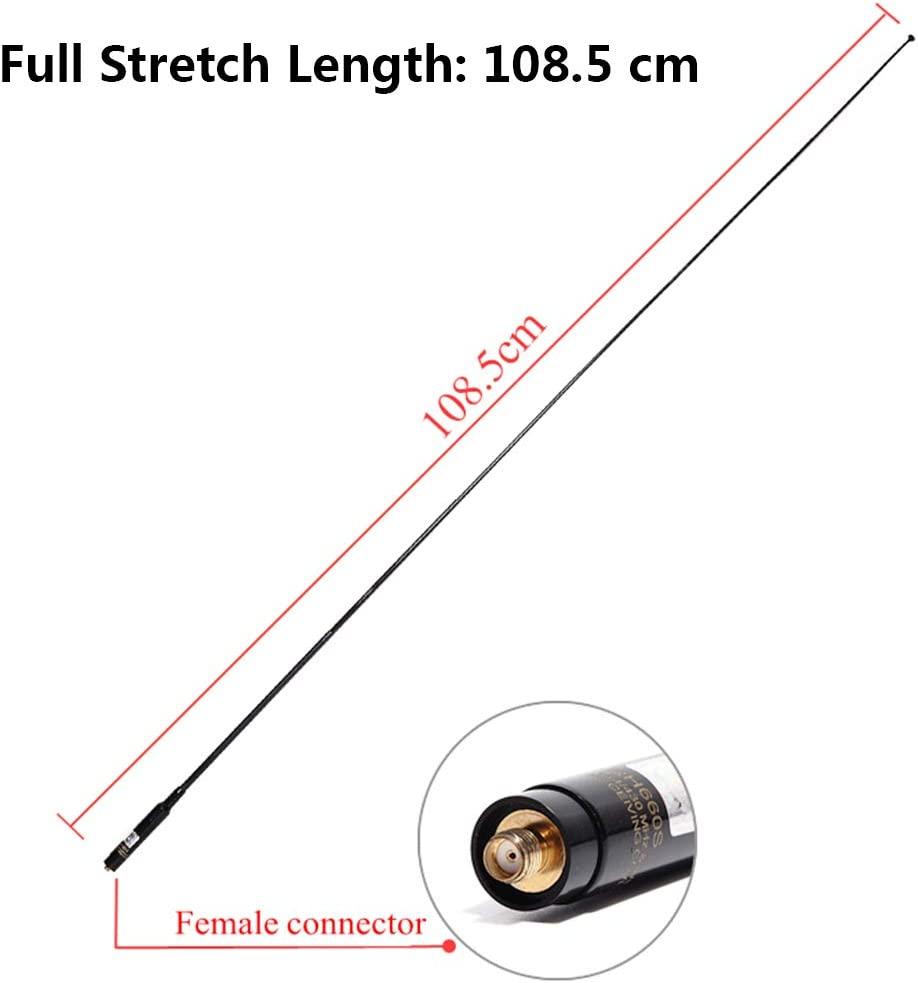 TengKo RH-660S SMA Female 144//430MHz Doble Banda SMA-F Telesc/ópico de Alta Ganancia Antena para Kenwood BAOFENG PUXING Walkie Talkies