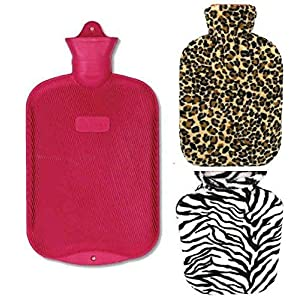 Lily's Home Rubber Hot Water Bottle For Cramps And Pain Relief With 2 Fleece Animal Print Covers 2 Liter