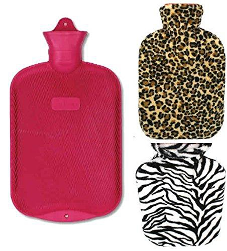 Lily's Home Rubber Hot Water Bottle For Cramps And Pain Relief With 2 Fleece Animal Print Covers 2 Liter by Lilyshome