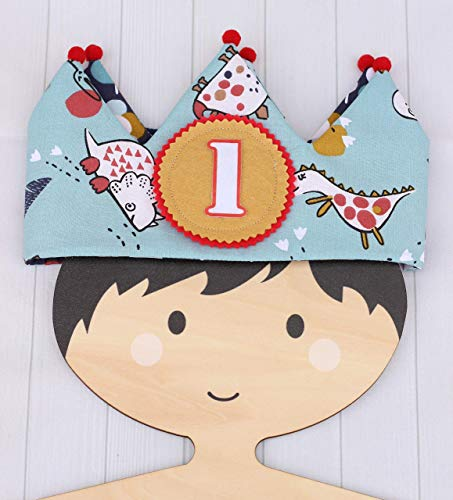 Corona de tela para cumpleaños reversible, corona infantil de dinosaurios, regalo primer cumple, adorno de fiesta, corona príncipe