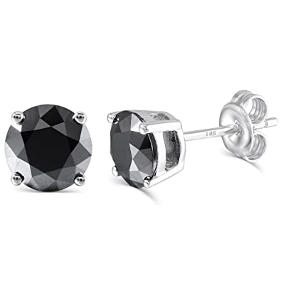 ce486db19 10K White Gold Post 2CTW 6.5MM Black Moissanite Simulated Diamond Stud  Earrings Platinum Plated Silver