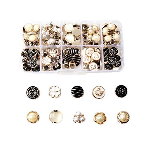 Chris.W 100Pcs Round Pearl Resin Buttons with Shank for Crafting Sewing Scarpbooking Scarf and Clothes, 10 Designs, Storage Box Included(Mixed Color) ()