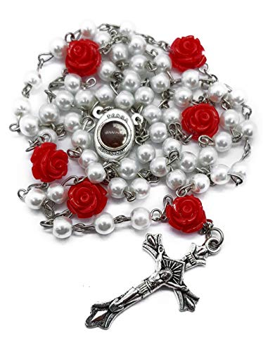 - White Pearl Beads Catholic Rosary Necklace Our Rose Red Flowers Holy Soil Centerpiece Medal & Cross