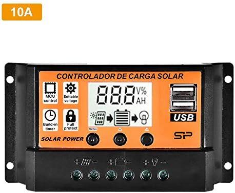 ningxiao586 12V / 24V MTTP Solarladeregler 10A / 20A / 30A / 40A / 50A / 100A Solarpanel-Batterieladegerät Intelligenter Regler mit LCD-Display mit Zwei USB-Anschlüssen und Überstromschutz