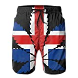 Newest - Mans Travel Summer Quick Dry Board Shorts - Iceland Flag Leaf Weed