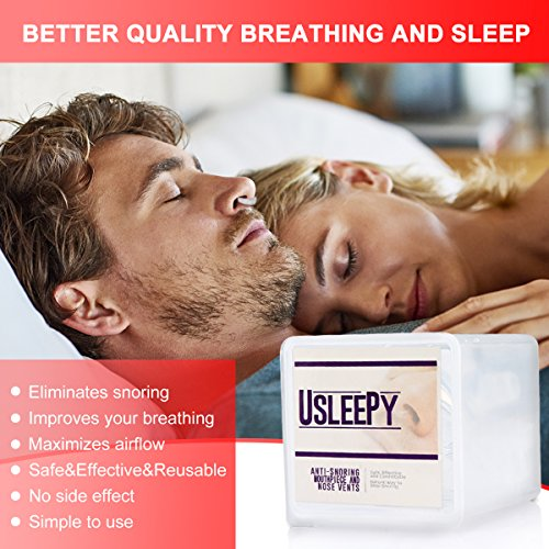 Anti Snoring Devices Tongue, 4 Set Snore Stopper Nose Vents Nasal Dilators Stop Snoring Solution Snoring Mouthpiece Sleep Aid Device Silicone Tongue Retainer for Men Women (Stop snoring Devices) by Usleepy (Image #2)