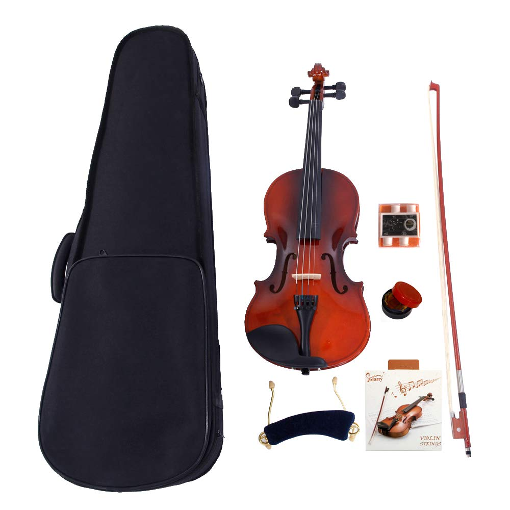 2019 New 1/2 Size Violin Case Acoustic Violin Case Durable Natural Solid Wood Fiddle for Beginners and Students w/Case,Bow and Rosin Strings Tuner Shoulder Rest Coffee(US stock) by Wrea