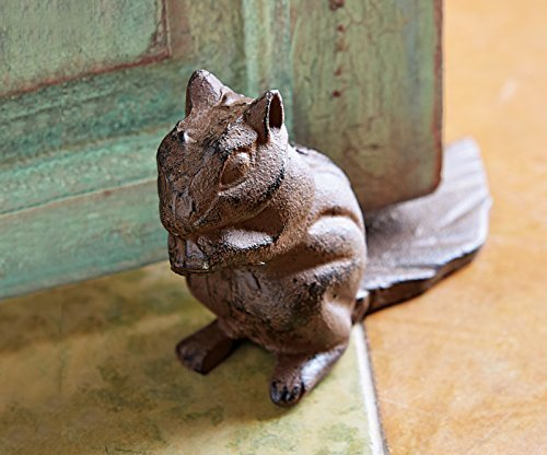 Squirrel door stop (hand painted), squirrel door wedge, door stop, cast iron door stop, cast iron door wedge.