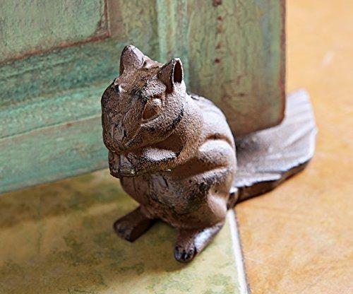 Squirrel door stop (hand painted), squirrel door wedge, door stop, cast iron door stop, cast iron door wedge.