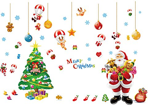 Santa Claus Christmas Hanging Ornament Wall Sticker Colorful Wall Decal for Christmas Kids Nursery Decoration Large Size (Decorations W Christmas Big)