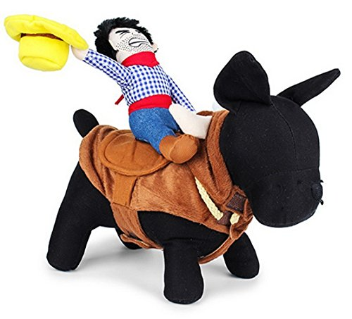 Dea Dog Costume (DD&DEE@ Pet Costume Apparel Dog Riders Cowboy Wear Style Knight Harness Clothing with Hat Size Medium.)