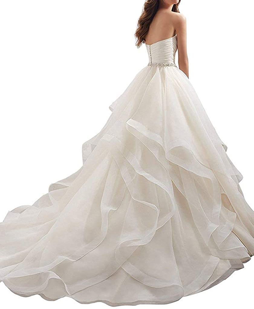 iluckin Princess Elegant A Line Sweetheart Organza Wedding Dresses for Women Bride with Ruffles Train Bridal Gowns