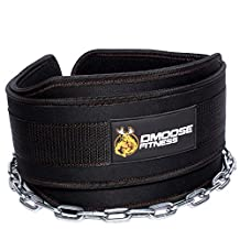 "Premium Dip Belt with Chain by DMoose Fitness – 36"" Heavy Duty Steel Chain, Comfort Fit Neoprene, Double Stitching – Maximize Your Weightlifting & Bodybuilding Workouts with Durable Dipping Belt"