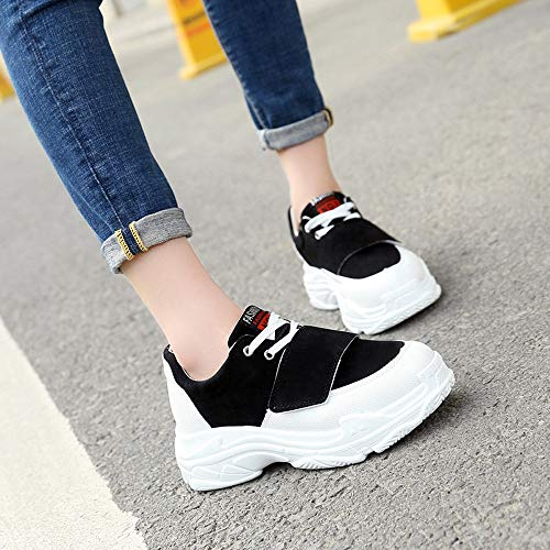 White Flat Top Shoes Sneakers Women Shoes Leather Lace 40 Black Zipper 35 Leisure JERFER Single Shoes Up Black High ES8BqnTZ