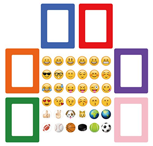 42-in-1 Emoji Magnetic Picture Frames for Refrigerator (6 Colorful Magnetic Picture Frames, and 36 Emoji - Magnetic Orange Frame