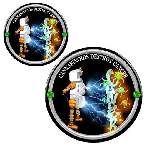 "CBD Cannabinoids Destroy Cancer 3"" Magnet + 2.25"" Pin"