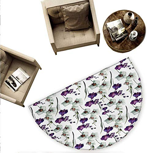 Watercolor Flower Semicircular Cushion Wild Orchid Family Flowerpot Plants with Blooms Romantic Floral Art Entry Door Mat H 55.1