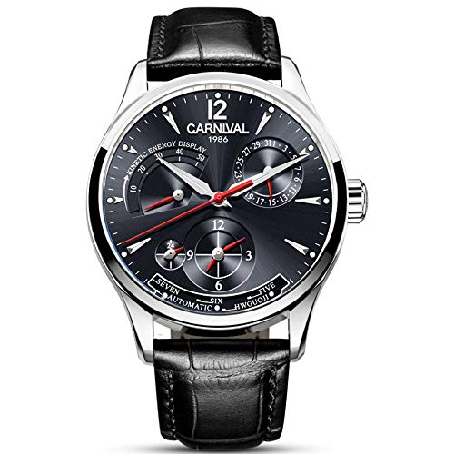 Mens Power Reserve Display Automatic-Self-Wind Watches Leather Band Luxury Waterproof Swiss Watches(Black Leather/Silver ()