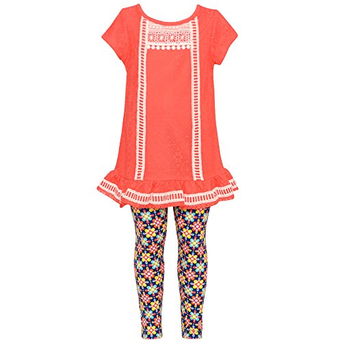 Capris Editions Pink Rare (Rare Editions Little Girls Coral Trim Tunic Navy Floral Leggings Outfit 3T)