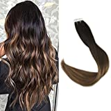 Full Shine 22″ Remy Hair Tape in Hair Extensions Ombre Color #1B Dark Roots Fading to #6 and #27 Honey Blonde Ombre Glue in Hair Extensions Balayage 40Pcs 100 Gram Per Package Review