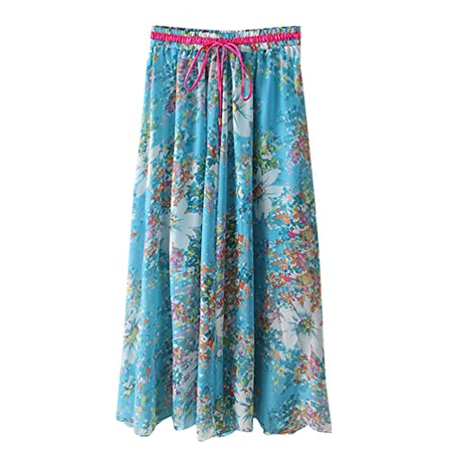 Jupes Jupe ZKOOO Imprim Mousseline Clair Lache Skirts Rtro Haute Plage Mi Bleu Floral Femmes Taille t Longue de Boho qHHvt