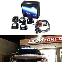 iJDMTOY (5) White LED Black Smoked Cab Roof Marker Lights w/ Wireless Remote Control Strobe Flash Blink Module Box