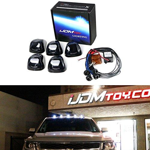 iJDMTOY (5) White LED Black Smoked Cab Roof Marker Lights w/ Wireless Remote Control Strobe Flash Blink Module (Sierra Dually Box)