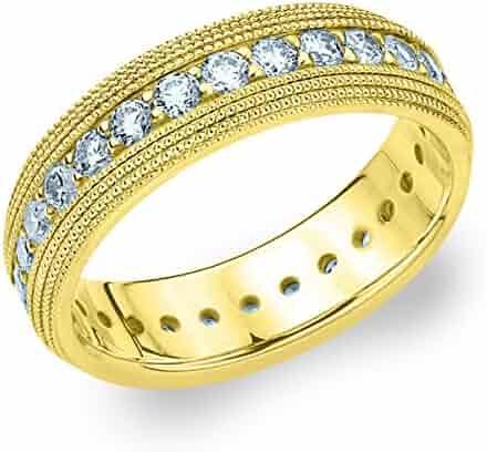 14K Yellow Gold Diamond 4 Row Milgrain Eternity Ring (1.5 cttw, H-I Color, I1-I2 Clarity)