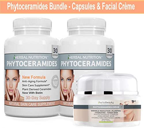 Phytoceramides Kit 2 Bottles Rice Based Capsules with Biotin Plus One Jar Phytoceramides Cream Anti-Aging Remedy for Skin Hair Nails Attacks Aging Skin from Inside and Out