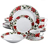 Gibson Home Poinsettia Holiday 20 Piece Dinnerware Set – (Christmas Theme) For Sale