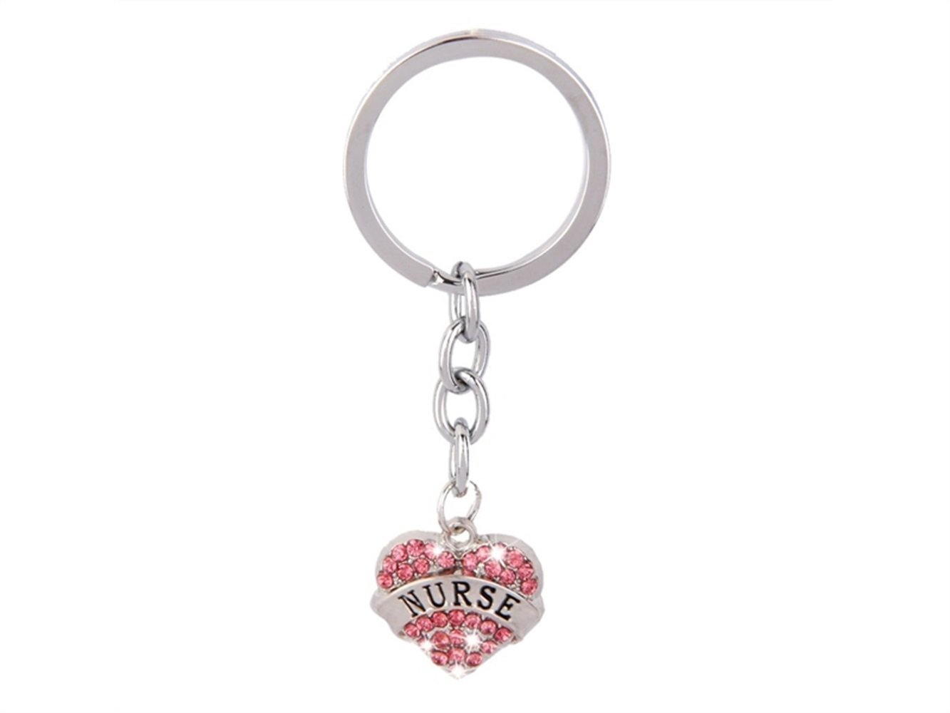 Flowerrs Utile Rosa strass cuore ciondolo portachiavi portachiavi portachiavi regalo infermiera Gadget per la casa
