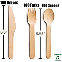 300 Disposable Wooden Cutlery set Eco-Friendly Compostable Flatware Utensils | Biodegradable Tableware |Chemical Free Silverware-E-book with 5 delicious recipes