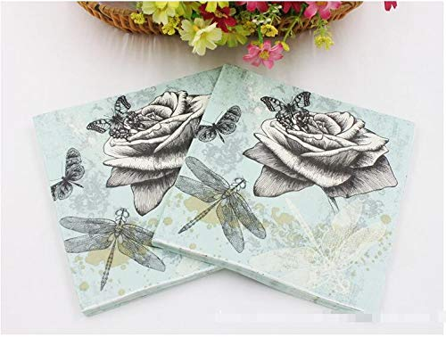 Dragonfly Wood Pulp Material and Cocktail Napkins Application 33cm33cm -