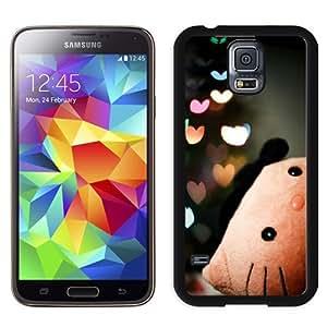 NEW Unique Custom Designed Samsung Galaxy S5 I9600 G900a G900v G900p G900t G900w Phone Case With Hello Kitty Love Hearts_Black Phone Case