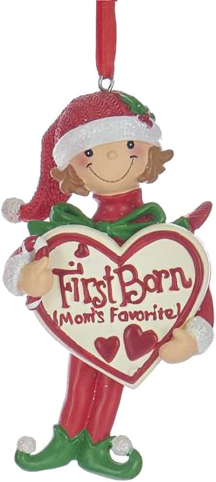 KA Smiling Girl Elf First Born 4 inch Resin Decorative Hanging Ornament
