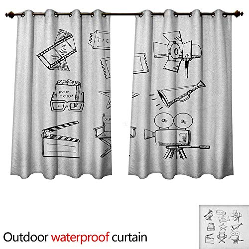 (Anshesix Movie Theater Home Patio Outdoor Curtain Sketchy Movie Icon Set in Black and White Entertainment Industry Media TV W55 x L72(140cm x 183cm))