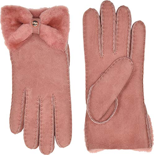 UGG Women's Bow Shorty Water Resistant Sheepskin Gloves Lantana Pink MD