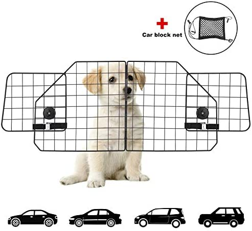 ERYTLLY Dog Car Barriers,Dog Barrier for SUV,Vehicles,Dividers,Pet Barriers Heavy Duty Wire Adjustable Dog Barrier with Front Seat Mesh Pet Barrier Net Organizer
