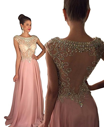 Jkara Woman Beaded Chiffon Gown - Prom Dresses 2019 Long with Luxury Crystals Beading See Through Party Gowns Vestido de Festa Pink-Custom Made