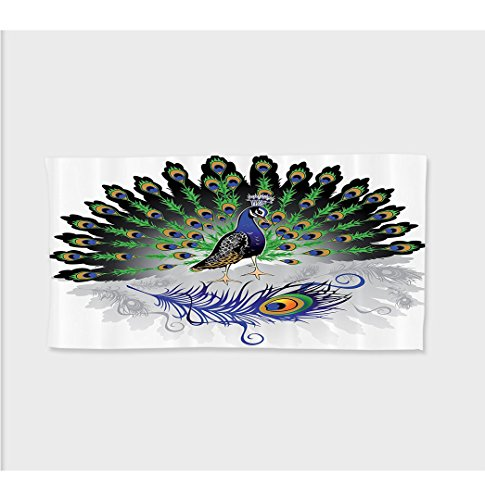 Oversized Deluxe Fox Tail (Sophie 27.5W x 11.8L Inches Custom Cotton Microfiber Ultra Soft Hand Towel Peacock Decor Collection Male Peacockith Open Tail Reflection Illustration Crowned Majestic Bird Tropics Image ith Hooks Navy)