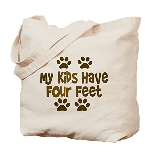 CafePress - My Kids Have Four Feet - Natural Canvas Tote Bag, Cloth Shopping Bag