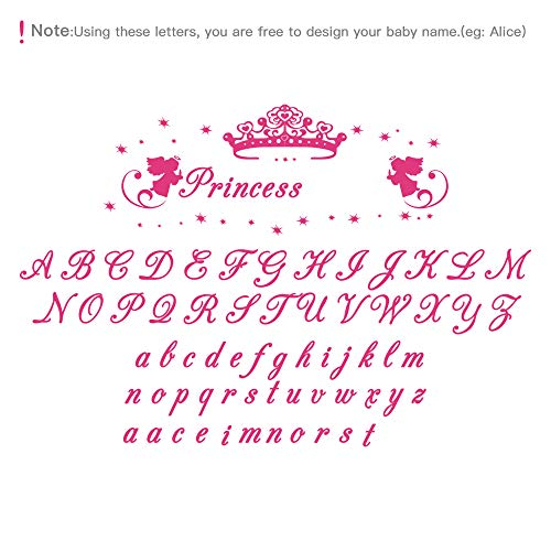 (decalmile Personalized Custom Name Wall Decals Princess Wall Stickers Vinyl Wall Art for Girls Bedroom Kids Nursery Baby Room)