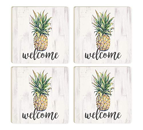 (Welcome Pineapple Weathered Cream 4 x 4 Absorbent Ceramic Coaster Pack of 4)
