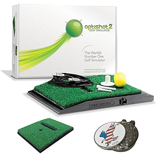 OPTISHOT 2 Golf Simulator (Mac & PC) Bundle | Includes 1 Extra Replacement Mat and 1 American Eagle Golf Ball Marker by optishot