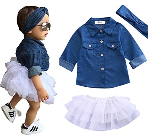 Newborn Kids Baby Girls Jeans Denim Tops Shirt + Tutu Skirts Dress + Headband 3pcs Outfits Clothes Set ()
