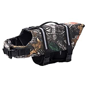 Onemore choice Camo Pet Life Preserver Jacket,Camouflage Dog Life Vest with Adjustable Buckles,Dog Safety Life Coat for Swimming, Boating, Hunting(XS, S, M, L, XL)