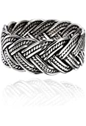 925 Oxidized Sterling Silver 10 mm Braided Woven Wave Antique Style Band Thumb Ring