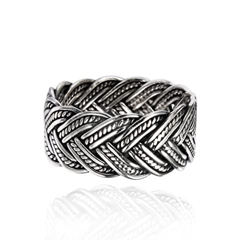 925 Oxidized Sterling Silver 10 mm Braided Woven Wave Antique Style Band Thumb Ring - Size 9 (Antique Ring Band)