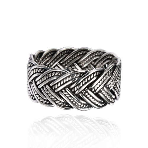 Oxidized Silver Jewellery - Chuvora 925 Oxidized Sterling Silver 10 mm Braided Woven Wave Antique Style Band Thumb Ring - Size 10