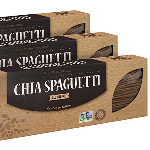 SOW Gluten Free Chia Spaghetti Pasta - High in Omega 3, Fiber and Protein. 100% Natural, Non-GMO. 3 Pack, 8 oz per unit.